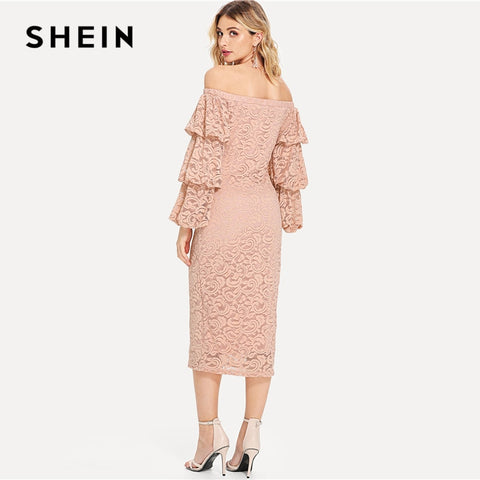 45b957c938 ... Image of SHEIN Pink Party Elegant Tiered Layer Flounce Long Sleeve Off  The Shoulder Lace Pencil ...