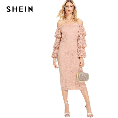 cc9089d65da ... Image of SHEIN Pink Party Elegant Tiered Layer Flounce Long Sleeve Off  The Shoulder Lace Pencil ...