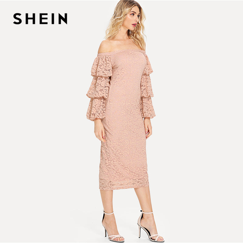 4d6dbf88dd Hover to zoom · SHEIN Pink Party Elegant Tiered Layer Flounce Long Sleeve  Off The Shoulder Lace Pencil Dress Summer