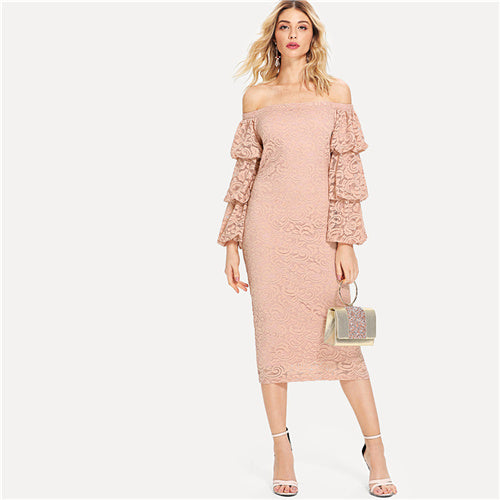 9bc1c03820 SHEIN Pink Party Elegant Tiered Layer Flounce Long Sleeve Off The Shoulder  Lace Pencil Dress Summer. Hover to zoom