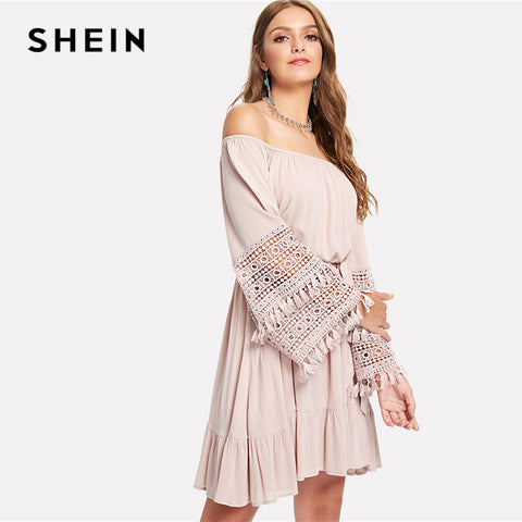 891fb0a5e463 ... Image of SHEIN Pink Vacation Boho Bohemian Beach Tassel Detail Eyelet  Lace Bell Sleeve Belted Bardot ...