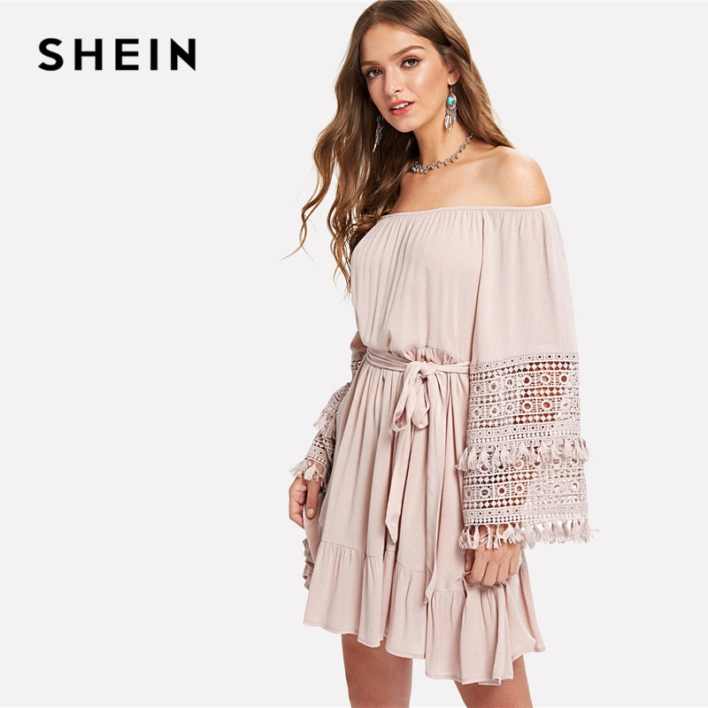 ea52c655e3 SHEIN Pink Vacation Boho Bohemian Beach Tassel Detail Eyelet Lace Bell  Sleeve Belted Bardot Dress Summer. Hover to zoom