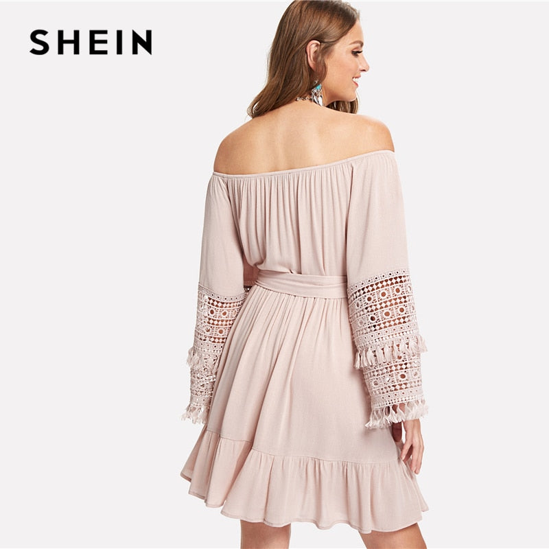 7a195c6392b1 SHEIN Pink Vacation Boho Bohemian Beach Tassel Detail Eyelet Lace Bell  Sleeve Belted Bardot Dress Summer. Hover to zoom