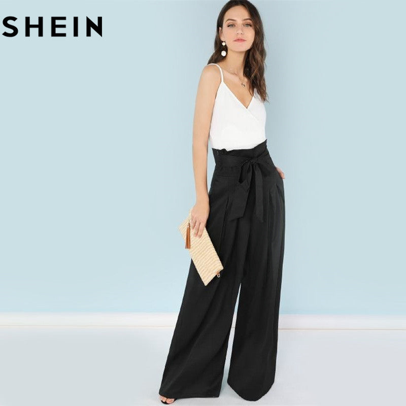 d512f065a Hover to zoom · SHEIN Self Belted Box Pleated Palazzo Pants Women Elegant  Loose Long Pants 2018 Fall Ginger High