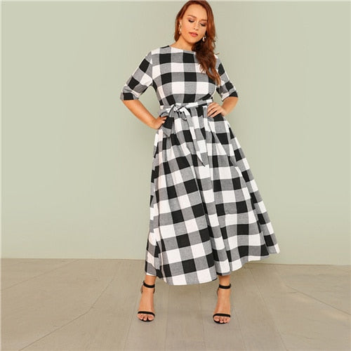 425e16462d4804 ... SHEIN Self Belted Gingham Dress 2018 Summer Round Neck Half Sleeve  Plaid Retro Maxi Dress Women ...