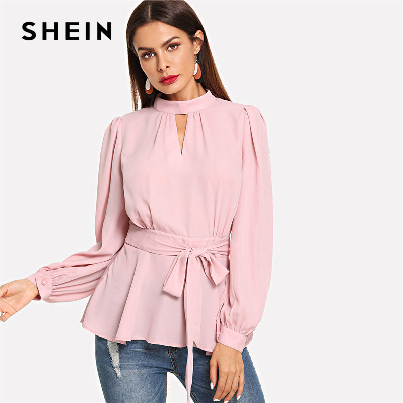 16797a2b62 ... Neck Ruffle Hem Backless Stand Collar Party Women Blouses. Hover to zoom