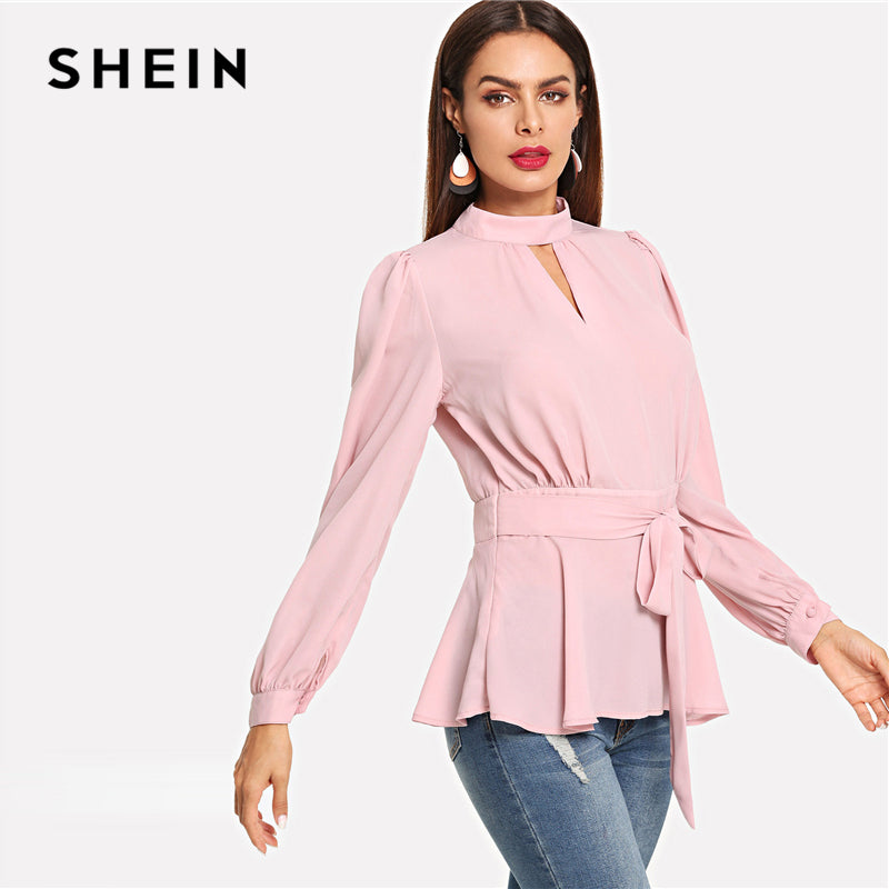 5819a6184b3ac SHEIN Sexy Pink Cut Back Belted Mock Neck Ruffle Hem Backless Stand Collar  Party Women Blouses Autumn Bishop Sleeve Peplum Tops