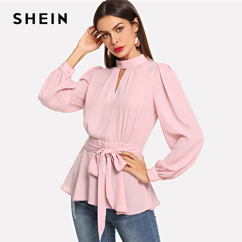 99348404d SHEIN Sexy Pink Cut Back Belted Mock Neck Ruffle Hem Backless Stand Collar  Party Women Blouses Autumn Bishop Sleeve Peplum Tops