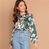 SHEIN Tie Neck Flower Print Stand Collar Long Sleeve Blouse Modern Lady 2019 Spring Women Elegant Lantern Sleeve Blouse
