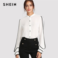 bbecb3772ab9c4 SHEIN White Elegant Stand Collar Long Sleeve Button Black Striped Blouse  Autumn Women Workwear Shirt Top ...