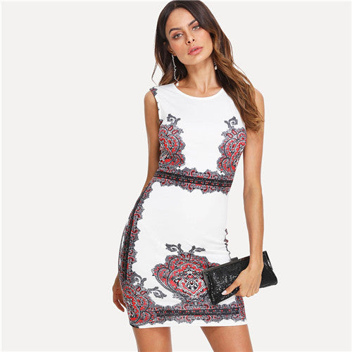 d8eb01137c Hover to zoom. PrevNext. Image of SHEIN Women Floral Print Sleeveless  Bodycon Mini Dresses 2018 Summer Work ...