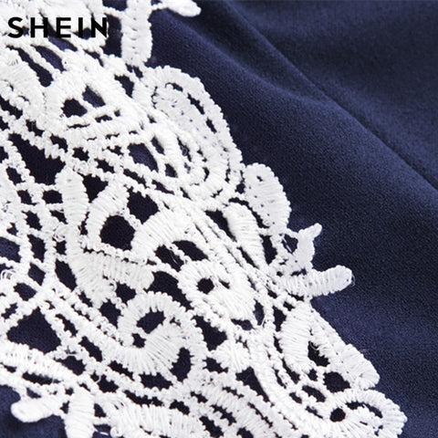 d1848636f2 ... Image of SHEIN Women Party Dress Navy Floral Lace Yoke Form Fitting  Dress Contrast Lace Color ...