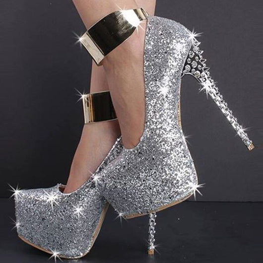 SHOFOO shoes,Fashion novelty free shipping, silver leather, 14.5 cm high-heeled shoes, round toe pumps.SIZE:34-45