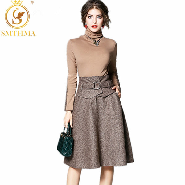 SMTHMA autumn Spring Runway woman High-necked ladies Tops + knee length skirt England style outfit 2 piece skirt suit