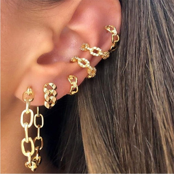 SRCOI 6 Pcs/Set Gold Alloy Thick Chain Open Hoop Earrings Vintage Fashion Punk Individual Metal Clip Earrings Women Jewelry