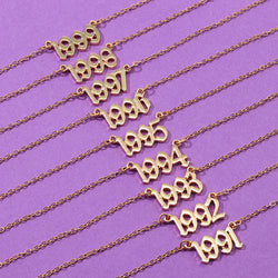 SRCOI Birth Year Special Date Old English Number 1991-1999 Metal Necklaces Birthday Gift Personalized Chokers Necklace For Women