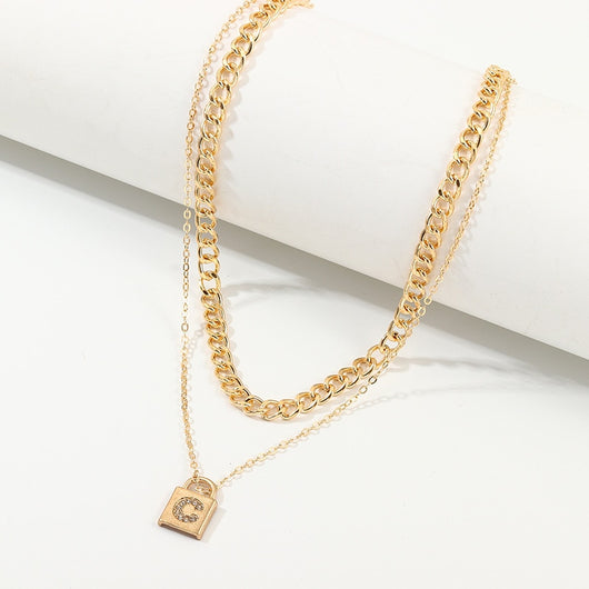 SRCOI Double Layer C Rhinestone Lock Gold Color Metal Pendant Choker Necklace 2020 New Fashion Alloy Chain Necklace For Women