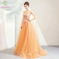 e4e15f845b8 SSYFashion 2019 New Luxury Gold Evening Dress Lace Embroidery Sweep Train  Noble Formal Party Gown Prom ...