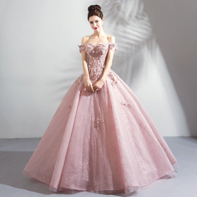 ... SSYFashion New Luxury Lace Evening Dress Sweet Pink Appliques Beading  Floor-length Formal Dresses Elegant 4f034dced026