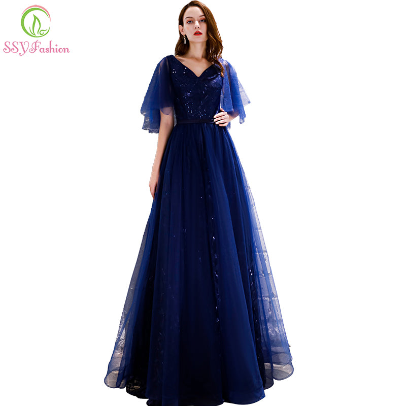 ad52b93566 SSYFashion New Navy Blue Evening Dress Robe De Soiree Simple V-neck  Floor-length. Hover to zoom