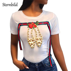 STERNBILD Brand 2018 Summer New Pearl shoes T-shirt Women European Fashion Diamonds Short Sleeve T shirt Slim Embroidery Tees