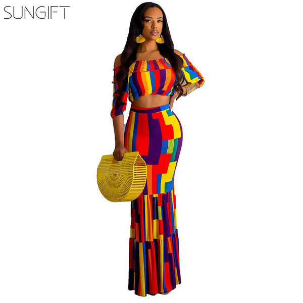 SUNGIFT Dashiki African Clothes Elegant Rainbow Dress For Women Party Dress Traditional 2019 Summer Fashion 2 Pieces 1 Set