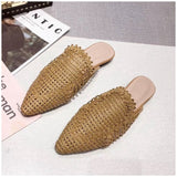 SUOJIALUN 2019 Summer Autumn Cane Weave Mules Shoes Fashion Pointed Toe Women Slippers Outside Beach Flat Slides Half Slipper