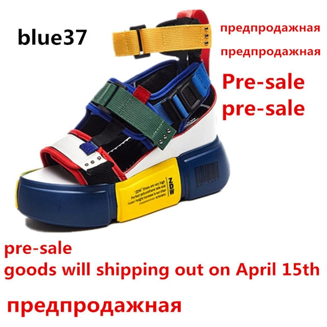 2017d536965 SWYIVY Blue Sandals Platform Women 2019 Ladies Casual Shoes Wedge High  Chunky Heel Sandals Summer Shoes High Top Ankle Shoes 41