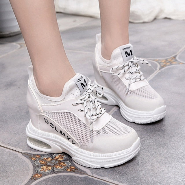 0feaaafda39 SWYIVY Platform Shoes Woman Summer Mesh Breathable New Female Casual  Sneakers Shoes Comfortable Wedge High Sneakers Sandals 34