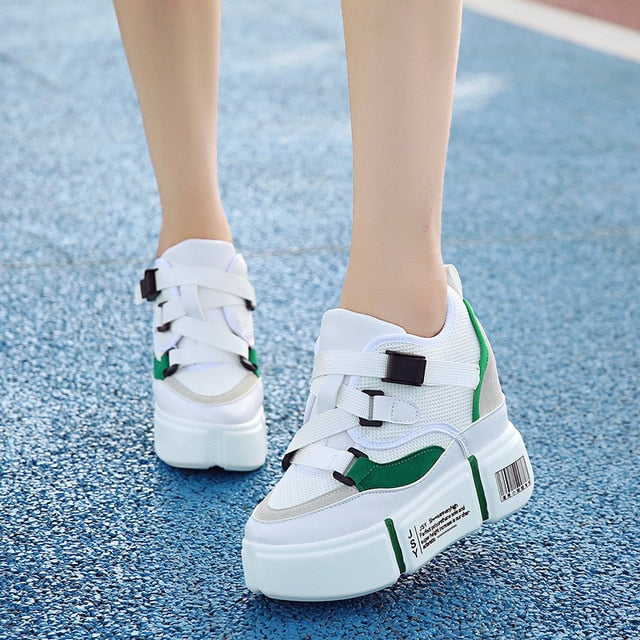 17f1e66f7e SWYIVY Wedge Woman Sneakers Platform Belt Bucket 2019 Spring Summer New Female  Casual Shoes Wedge Breathable. Hover to zoom