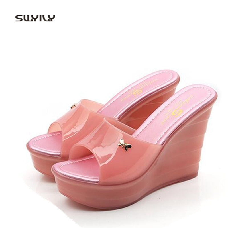 3b7e29d45d51 Hover to zoom. PrevNext. Image of SWYIVY Women s Sandals PVC Plastick Jelly  Shoes Summer ...