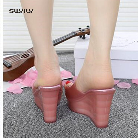 SWYIVY Women's Sandals PVC Plastick Jelly Shoes Summer 2018 Female Sandals Platform Wedge Lady PVC Casual Shoes 40 Comfortable