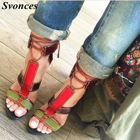 Sapato Feminino Ladies Dress Shoes Patchwork Cage Sandals Gladiator Lace UP Rihanna Shoes Summer Chunky Heels Sandals For Women