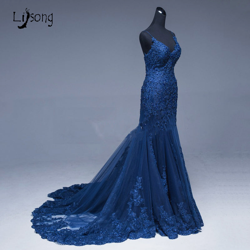 ... Saudi Arabic Mermaid Lace Evening Dresses Navy Blue Long Prom Gowns  Abiye Sexy Formal Evening Gowns ... 95e0a89068f3