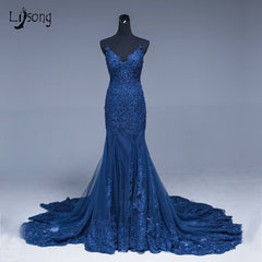 be9a8608d77 Saudi Arabic Mermaid Lace Evening Dresses Navy Blue Long Prom Gowns Abiye  Sexy Formal Evening Gowns ...