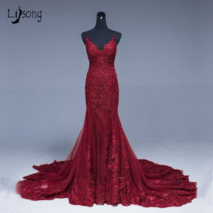 8dee97190c77d Saudi Arabic Mermaid Lace Evening Dresses Navy Blue Long Prom Gowns Abiye  Sexy Formal Evening Gowns ...