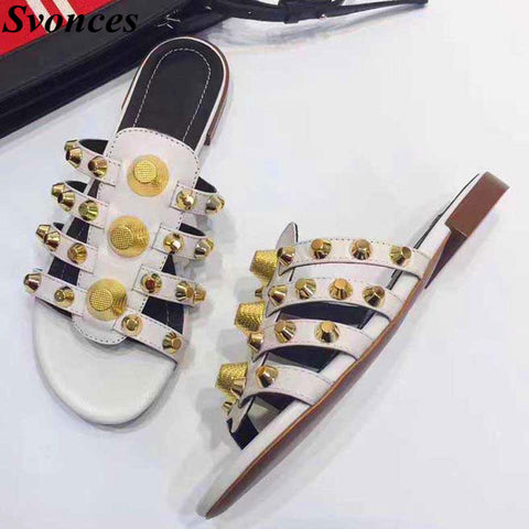 Scarpe Donna Fashion Studded Slip On Sandals Flat Slippers Women Unicornio Summer Hot Dress Shoes White Beach Sandals Size 45