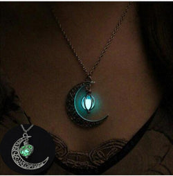 Glow in the dark crescent moon necklace, Crescent Moon Glow Necklace Hollow Moon Pendant Glow In Dark Long Luminous, Crescent Moon Glowing Orb Necklace Glow In Dark Necklace Antique Silver