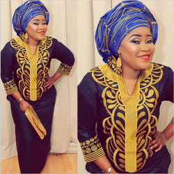 Blue Dashiki African Women Gown and scarf Clothing, Ankara dress,Dashiki Dress, African Dresses,caftan plus size - Owame