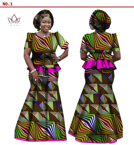 Image of African Women Skirt and Blouse, headwrap Set, Customize African clothing plus size Ankara dress - Owame