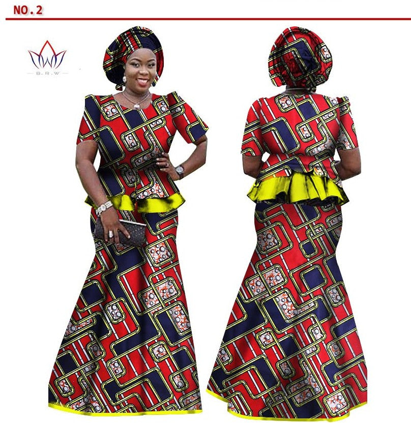 African Women Skirt And Blouse Headwrap Set Customize African