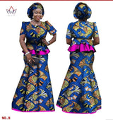 African Women Skirt and Blouse, headwrap Set, Customize African clothing plus size Ankara dress - Owame