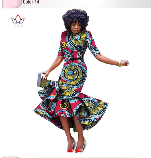Beautiful African bazin riche printed Dress For Women,Dashiki Dress,African Dress,African Clothing