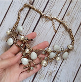 Classic Women Simulated-Pearl Crystal Fruit Tree Leaf Chokers Necklaces