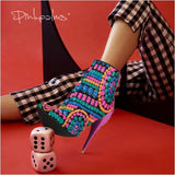 Elegant  Ethnic Tribal Boho gold color sequined high-heeled shoes ankle boots pointed toe