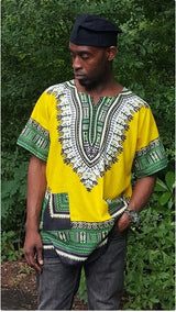 Mens Multicolor Traditional African Print Dashiki Shirt