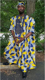 Black and Gold African Ankara Grand boubou Agbada