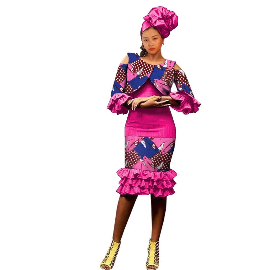 ce9ea5b748576 Ankara suit for women, african print single button short top+strapless knee- length. Hover to zoom
