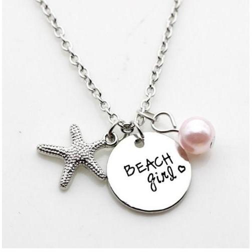 "12pcs/lot Fashion necklace ""beach girl and follow your dreams"" Pendant necklace, silver starfish Charm Pendant necklace Jewelry gift"