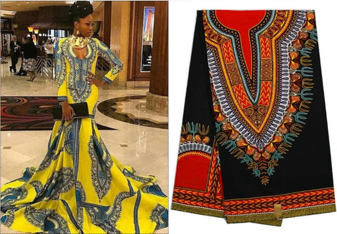 ANKARA AFRICAN WOMEN MAXI DRESS DASHIKI PRINT SUMMER SPRING HANDMADE LONG SLEEVE